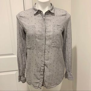 🔴 Zara Pin Stripe Dotted Button Down Shirt Small